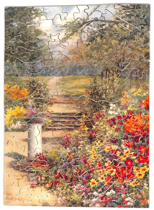 I TELL THE TIME BY THE SUNBEAMS,  birdbath and path in an English garden