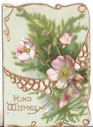 KIND WISHES in gilt, wild roses and gilt designs
