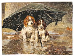 WAIT TILL THE CLOUDS ROLL BY, two puppies sheltered under umbrella in rain,