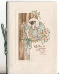 """""""GATHER YE ROSEBUDS WHILE YE MAY"""" woman on knees tending to roses"""