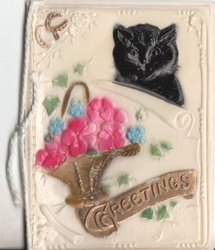 GREETINGS in gilt, basket of flowers and black cat above