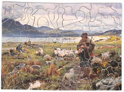 THE ORPHAN, farmer with sheep, lake and mountains in the distance