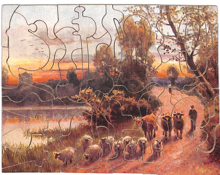 EVENING GLORY, man herds cattle and sheep down a country lane,