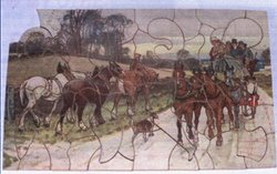 BRIGHTON COACH, heavily laden stagecoach passes farmer leading work horses on the road