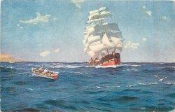 OFF VALPARAISO, large sailing ship under full sail, smaller rowboat