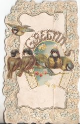 GREETINGS in gilt in horseshoe, 5 blue-tits perched on floral spray & one flies