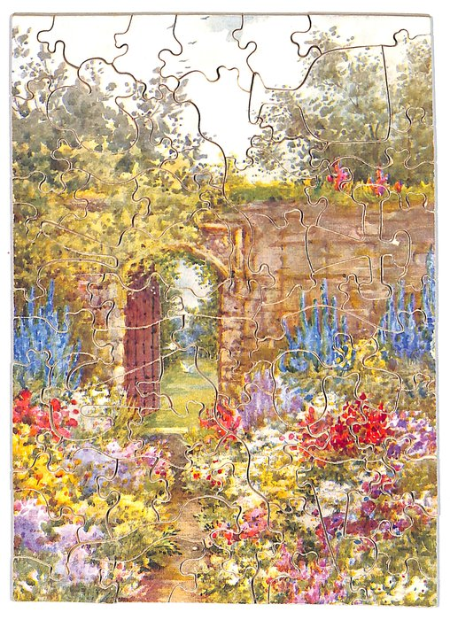 THE FLOWER SANCTUARY, colorful garden with path in the middle leading to an open arch doorway in a tall brick wall,