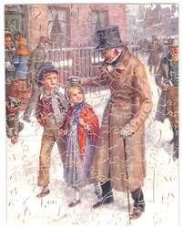 HOW SCROOGE KEPT CHRISTMAS DAY, two children and a man talk on a snowy street