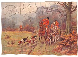 FOUND, hunting scene with horses and hounds