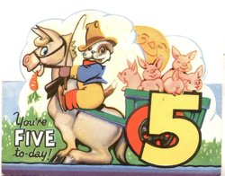 YOU'RE FIVE TO-DAY! dressed dog rides donkey pulling cart with 5 piglets,  large yellow 5