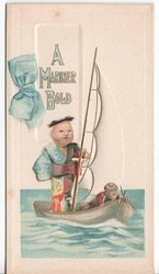 A MARINER BOLD two dolls on sailboat in body of water
