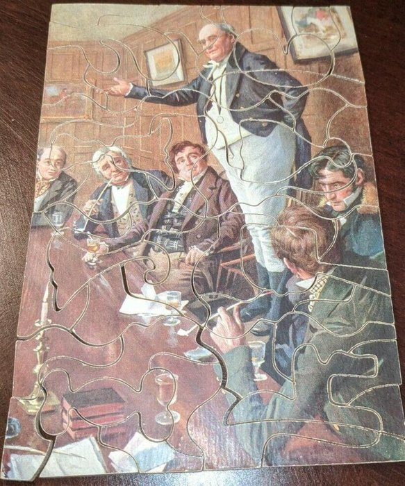 THE PICKWICK CLUB, gentleman stands on chair and addresses others at the table