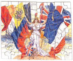 Britannia with flags standing on a wooden platform with ships in the distance