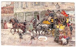 THE PICKWICKIANS LEAVE THE GOLDEN CROSS FOR ROCHESTER, heavily laden stagecoach drives through a busy street