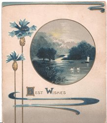 BEST WISHES (B/W illuminated) two blue cornflowers to left, inset of water scene to right