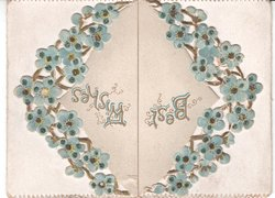 BEST WISHES in ring of forget-me-nots