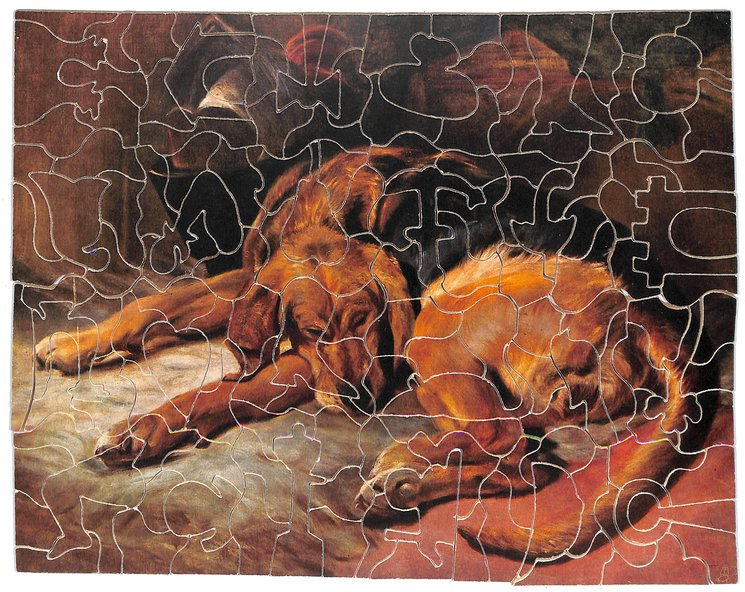 THE SLEEPING BLOODHOUND, sleeping dog curled up on a rug