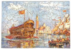 THE BLESSING OF THE ADREALEE(name to be confirmed), royal ship in harbour, several small ships to right, buildings in the distance, Venice?