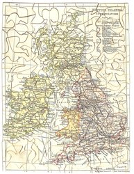 MAP OF THE BRITISH ISLES(title on label), BRITISH ISLANDS. COMMUNICATIONS (title on puzzle)