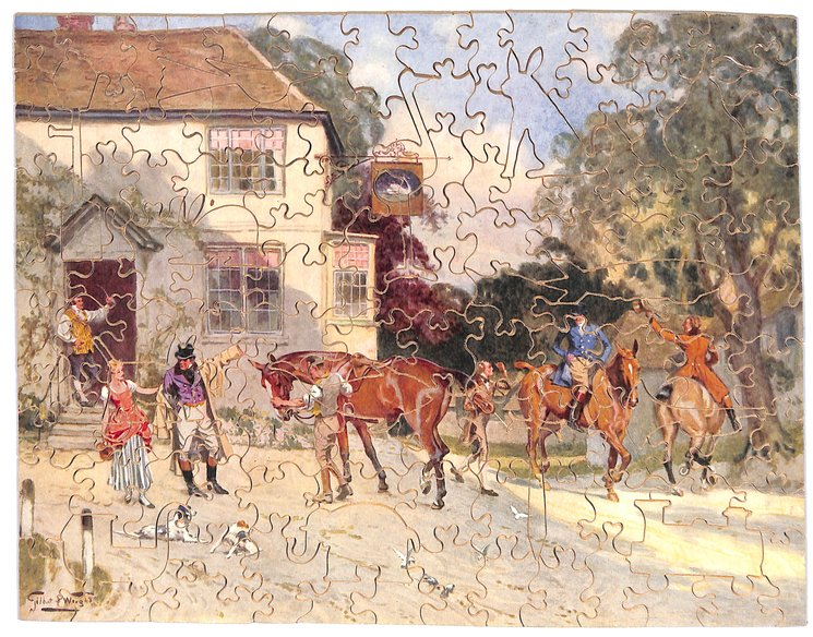 MERRIE ENGLAND IN DAYS OF OLD, horses and riders departing from the pub