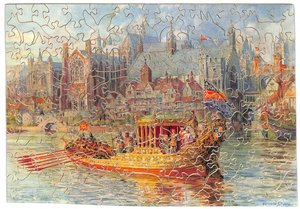 RICHARD II IN THE ROYAL BARGE, royal ship in harbour, city in background