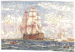 NELSON HOISTS HIS FLAG ON THE VICTORY, four sailing ships under full sail, several small rowboats