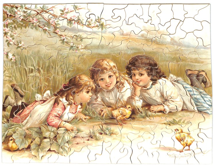 CHILDHOOD'S HAPPY DAYS, three young girls lay on the ground watching chicks