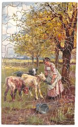 THE MID-DAY MEAL, a young woman feeds three calves under some trees