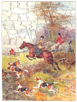 IN FULL CRY, woman hunter and another gentleman hunter take the jump, hounds on the ground beside them