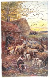 PASTORAL SCENES, farmer with a lit lantern checks his flock of sheep, dog, fences and farm buildings