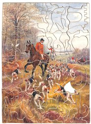 HUNTING DAYS, huntsman on a brown horse leads, hounds on the ground, fence and treeline on his right