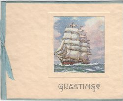 GREETINGS in blue, inset of ship sailing