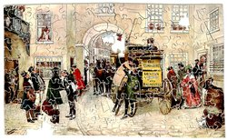 MR. PICKWICK, HIS FRIENDS AND MR. JINGLE START FOR ROCHESTER, passengers and stagecoach in a busy courtyard