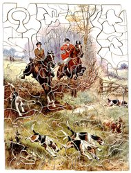 TAKING THE FENCE, lady and gentleman huntsmen jump the fence, hounds advance in front of them