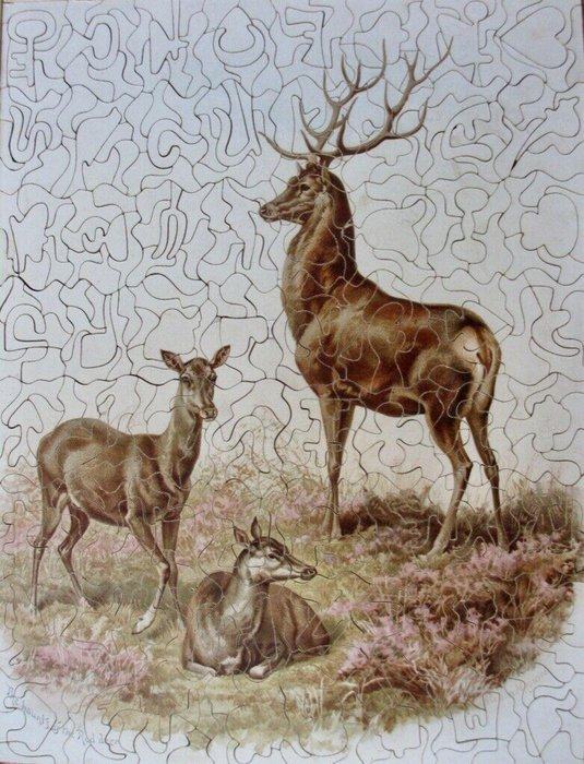 HAUNTS OF THE RED DEER(title on label), THE HAUNTS OF THE RED DEER(title on puzzle), male stag with two females