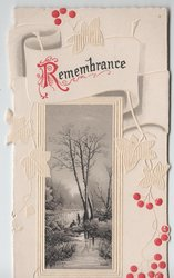 REMEMBRANCE (R illuminated) rural inset, two people at stream, red & white stylised ivy design