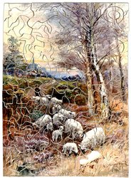 THE TWILIGHT HOUR, man herds sheep down a road, two large birch trees