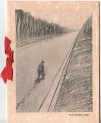 """""""THE MOVING SPIRIT"""" man holding briefcase walks down long empty road"""
