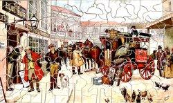 DAVID COPPERFIELD ARRIVES IN LONDON, stagecoach outside the BLUE BOAR, busy street