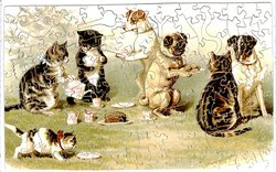 THE GARDEN PARTY cats and dogs having a tea party
