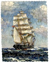 BOUND FOR THE GOLDEN EAST, sailing ship under full sail