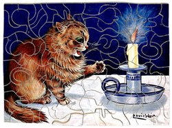THE BEGINNING OF WISDOM, orange cat bats at a candle flame with its paw