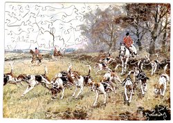 A FINE RUN, hounds, hunters and riders on a fox hunt