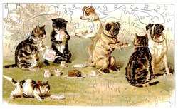 THE GARDEN PARTY, cats and dogs having a tea party