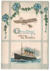GREETINGS ACROSS THE DISTANCE forget-me-nots above airplane, large ship in the sea below