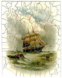 BRIG CLOSE HAULED, a rowboat approaches a large sailing ship