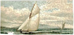 BRITANNIA, large sailboat in full sail, another in background