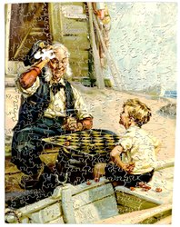 DRAUGHTS, man and boy play checkers on the beach