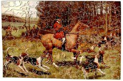 AT THE COVERT, hunter on a brown horse follows hounds over a stone wall, other hunters in the background