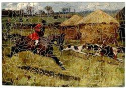 FOLLOW THE HOUNDS huntsman on brown horse follows hounds across field